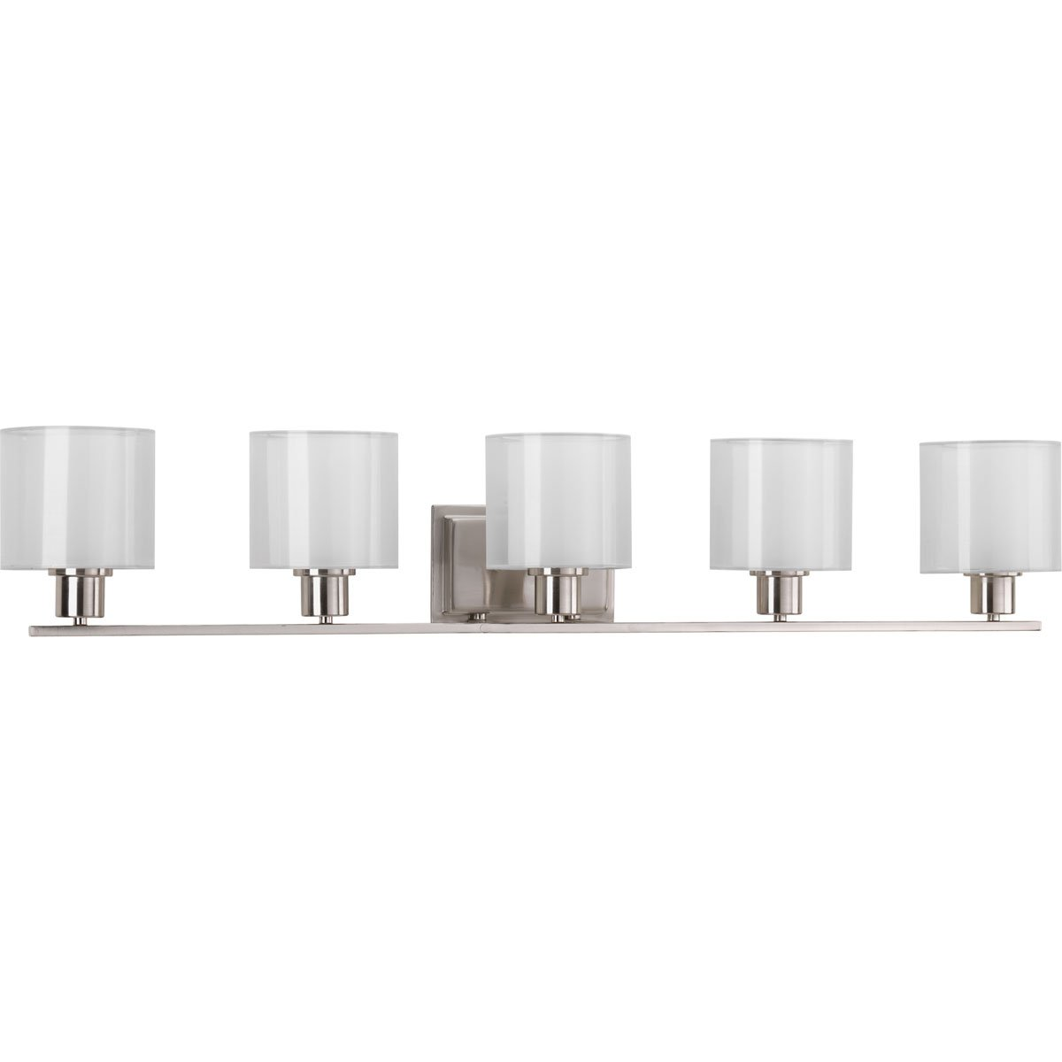 Progress Lighting P2081-09 Invite Collection Five-Light Bath Vanity, Brushed Nickel