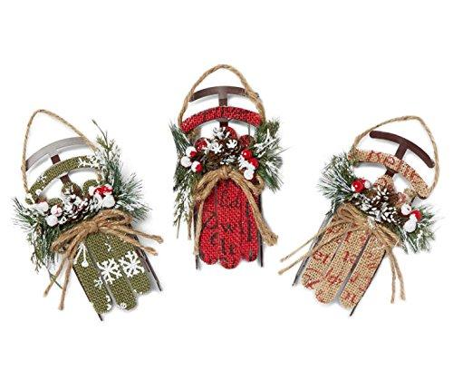 (Rustic Burlap Sleigh Ornaments ~ Set of 3)