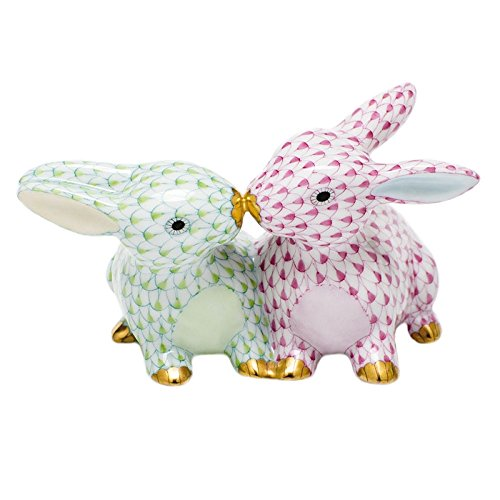 - Herend Kissing Bunnies Porcelain Figurine Key Lime and Raspberry Fishnet
