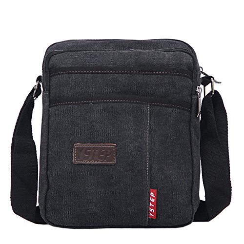 Small Mens Messenger Bag Canvas Cross Body Travel Purse Mini Sling Shoulder Bag Black by EasyHui