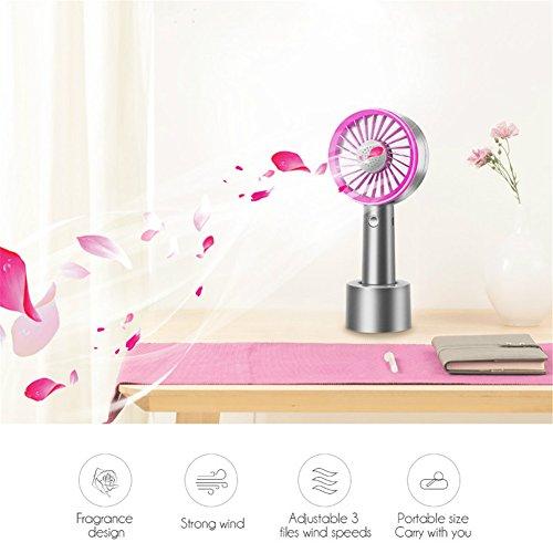 Mini Handheld Fan,Aromatherapy Fan Handy USB Rechargeable Electric Desk Desktop Personal Cooling Small Fan for Outdoor Indoor Travel Home Office Desktop,3 Speeds Level (Blue/Purple) by OWIKAR (Image #5)