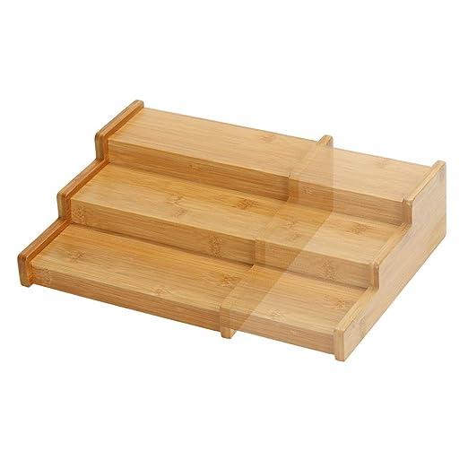 Bambus Holz Gewürzregal Ausziehbar Leer, Küchen Regal Organizer  Aufbewahrung, Gewürzständer für Arbeitsfläche, Tisch und Küchenschrank, ...