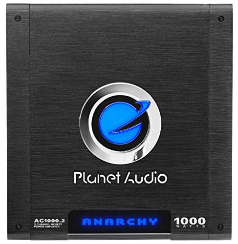 Planet Audio AC1000.2 Anarchy 1000 Watt, 2 Channel, 2/4 Ohm Stable Class A/B, Full Range, Bridgeable, MOSFET Car Amplifier with Remote Subwoofer Control (Channel 2 Full Range)