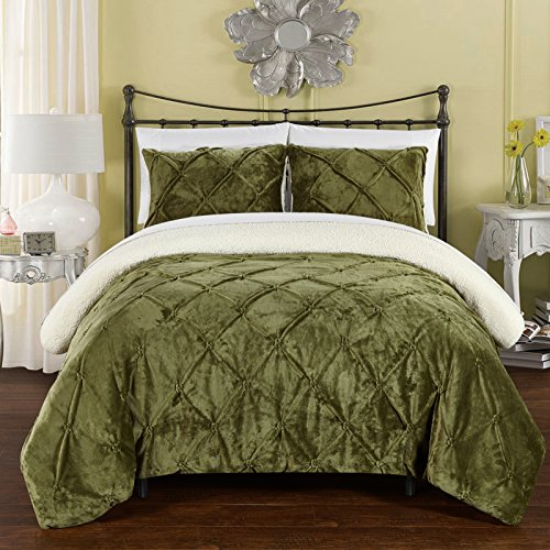 Chic Home 3 Piece Josepha Pinch Pleated Ruffled and Pin Tuck Sherpa Lined Queen Bed in a Bag Comforter Set Green