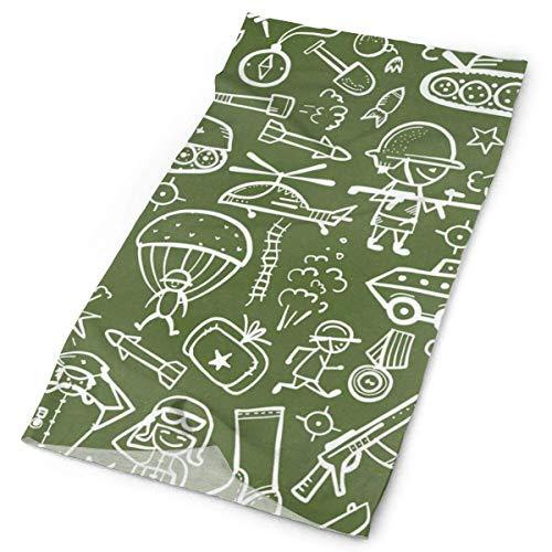 BDGAjdka Headband Funny Cartoon Green Military Pattern Outdoor Scarf Face Scarf Neck Gaiter Head Wrap Sweatband Sports… 1