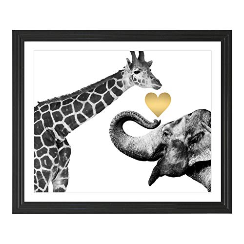 - Eleville 8X10 Giraffe and Elephant Love Real Gold Foil Art Print (Unframed) Funny Artwork Funky Prints Home wall art Motivational Poster Holiday Birthday Wedding Christmas Gift WG125