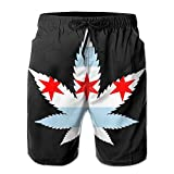 confirm vt Weed Chicago Flag Men's Swim Trunks Beach Shorts Board Shorts with Pockets