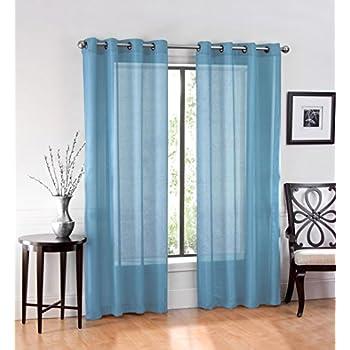 Amazon Com Hlc Me 2 Piece Sheer Window Curtain Grommet