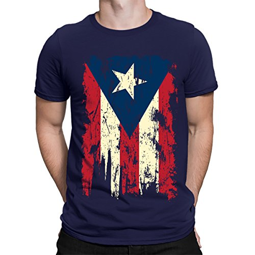 SpiritForged Apparel Vintage Distressed Puerto Rico Flag Men's T-Shirt, Navy XL