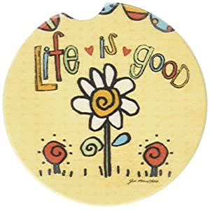 CounterArt Absorbent Stoneware Car Coaster, Life is Good-Flower, Set of 2