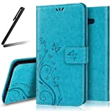 Galaxy A5 2017 Stand Case,Galaxy A5 2017 Wallet Case,SKYMARS Embossed PU Leather Flip Kickstand Cards Slot Wallet Magnet Stand Case for Samsung Galaxy A5 2017 (SM-A520) butterfly Blue