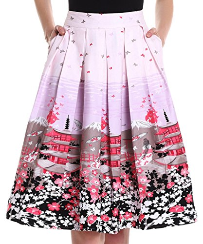 Yige Women's Vintage High Waist Flared Skirt Pleated Floral Print Midi Skirt with Pocket Butterfly-XS