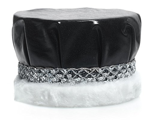 Royal Black Metallic Crown with Silver Sequin Band and White Faux Fur Trim, 6 1/2 Inches High