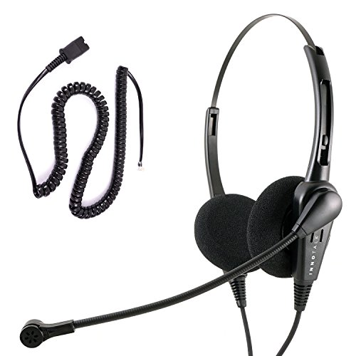 Cisco 9951 9971 CTS500 12VIP 30VIP Phone Headset and Adapter Package - Cost Effective Call Center Noise Cancel Mic Binaural headset + Cisco Phone Cord by InnoTalk
