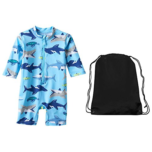 Carter's Toddler Boys Blue Shark One Piece Long Sleeve Rash Guard Sunsuit 4T by Carter's