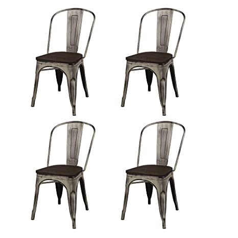 Amazon.com: GIA MC45K-ANTIWH_DWOOD_4 High Back Metal Chair ...