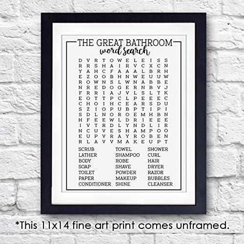 11x14 Unframed Bathroom Word Search Art Print