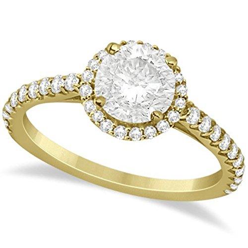 Halo Moissanite Engagement Ring Diamond Accents 18k Yello...