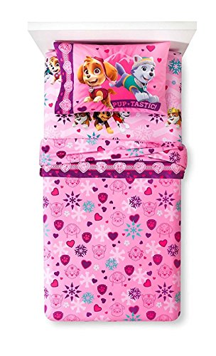 Paw Patrol Skye Twin MicroFiber Flannel Sheets (Girl Twin Bed Sheets)
