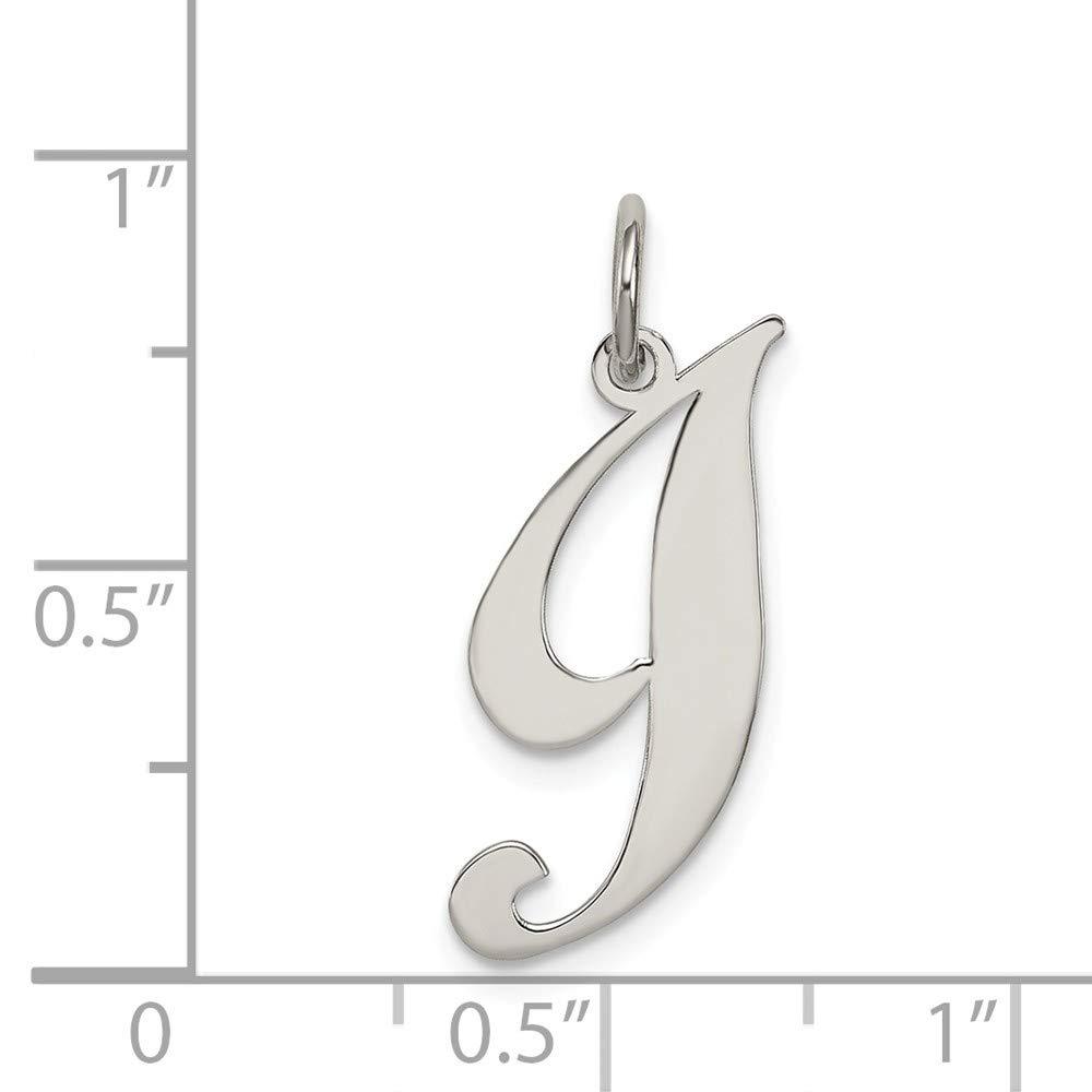925 Sterling Silver Rhodium-plated Medium Fancy Script Letter Initial I Charm