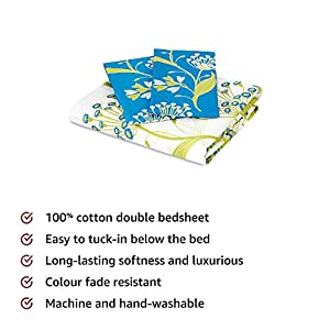 Amazon Brand – Solimo Lily Bloom 144 TC 100% Cotton Double Bedsheet with 2 Pillow Covers, Green