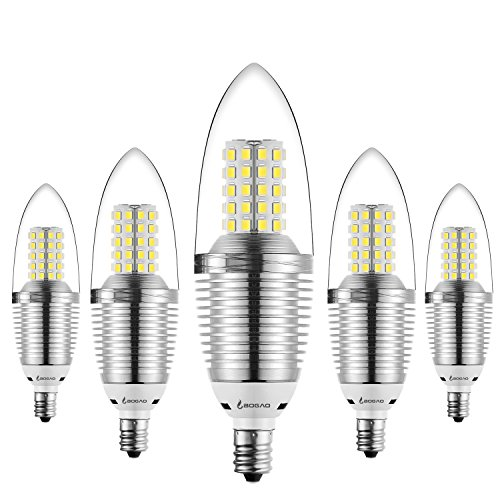 Bogao (5 Pack) LED Candelabra Bulb, 12W Daylight LED Candle Bulbs, 85-100 Watt Light Bulbs Equivalent, E12 Candelabra Base,1200 Lumens LED Lights,Torpedo Shape White 6000K