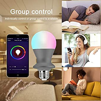Black, 1 Smart Light Bulb 2.4 G A19 E26 Android,iOS,Alexa Google HAOD Smart LED Light Bulb App Remote and Voice Control Color Changing Dimmable WiFi Bulb Equivalent 70W Work with