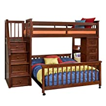 NE Kids School House Stair Loft Bed with Chest End in Cherry