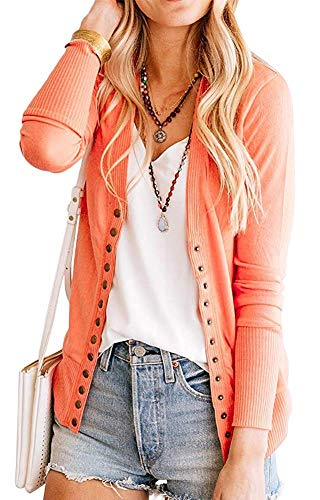 Women's S-3XL Solid Button Front Knitwears Long Sleeve Casual Cardigans Coral M ()