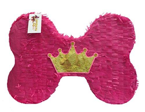 Pink Dog Bone Pinata with Crown]()