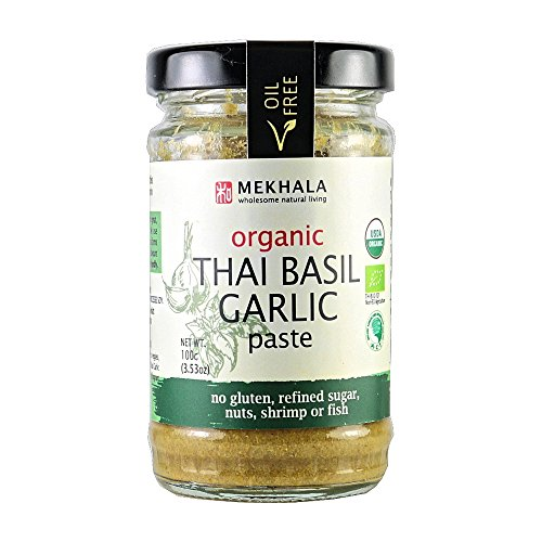 Organic Asian Sauce (Mekhala Organic Gluten Free Thai Basil Garlic Paste 3.53oz)