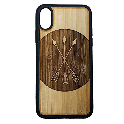 iMakeTheCase Tres Flechas Carcasa para iPhone X por Eco-Friendly Cubierta de Madera de bambú + TPU Envuelto Bordes | Arco y...