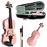 SKY Solid Wood 1/10 Size Kid Violin with Lightweight Case, Brazilwood Bow and Bright Pink Color