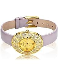 Langii Women Wrist Watches Yellow Gold Plating Grey Purple Leather Watch Strap Jewelry Style Yg1706czgr