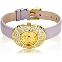 Leather Luxury Gold Watch Women - Jewelry Bracelet Wrist Watch Band 108 Crystals