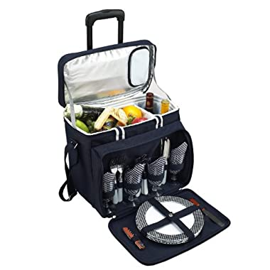 Picnic at Ascot Equipped Picnic Cooler with Service for 4 on Wheels - Navy