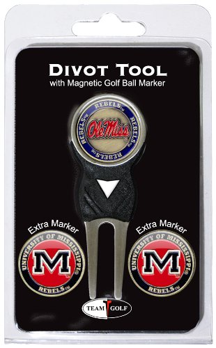 Team Golf NCAA Ole Miss Rebels Divot Tool with 3 Golf Ball Markers Pack, Markers are Removable Magnetic Double-Sided Enamel ()