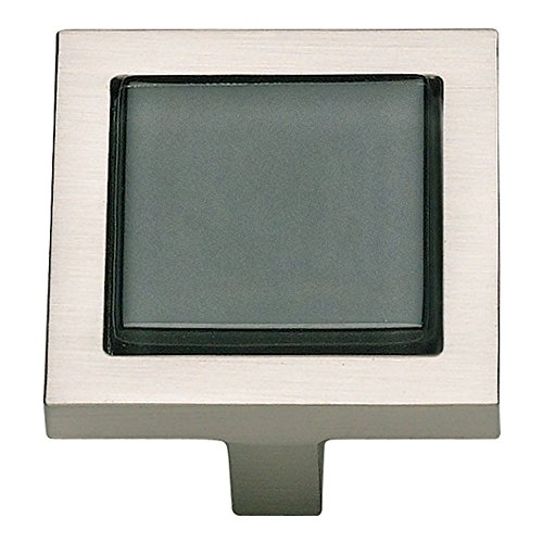 Atlas Homewares 230-BLK/BRN 1-3/4-Inch Spa Black Square Knob, Brushed Nickel