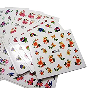 KINGMAS 50 Pcs Different Styles Pattern DIY Nail Art Stickers Transfer Watermark Nail Stickers with Tweezers