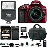 Nikon D3400 DSLR Camera 18-55mm VR Lens, Flash 32GB Bundle