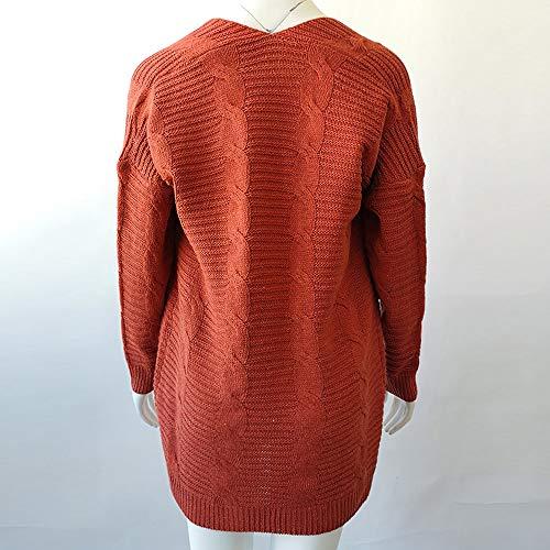 Maniche Lunghe Sweaters Donna Maglione Da 3xl Retrò Lavorato Cappotto Arancione Longra s Maglia Lungo Elegante Giacche Autunnale A Cardigan PxvqZHw55
