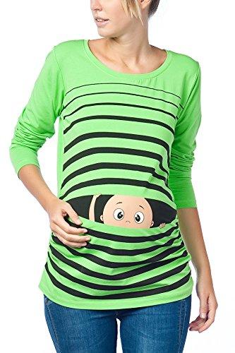 shirt Verde regalo lunghe Schwa motivo con push Divertente T maglia maniche codolo moda dolce borraccia a v6xIwqTZ