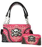 Pink Skull Studded Conceal and Carry Purse W Matching Wallet