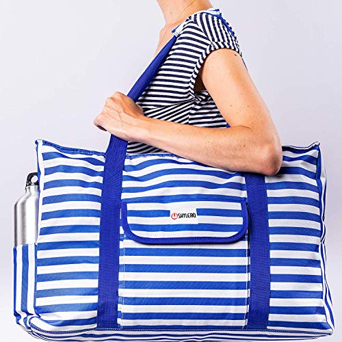 Beach Bag XXL. 100% Waterproof (IP64). L22 xH15 xW6 w Ribbon Handles (Padded Grip), Top Zip, Three Outside Pockets. Blue Stripes Beach Tote Includes Phone Case, Built-In Key Holder, Bottle Opener