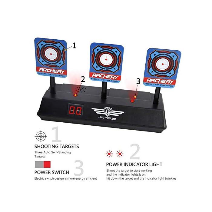 51an7F7p%2B8L 【Hot Objetivo de Puntuación Más Reciente 】Al ser golpeados los tres objetivos su poderoso mecanismo eléctrico los reposicionará automáticamente luego de 3 segundos. Porque Posicionamiento automático diseñado con poderosos engranajes eléctricos internos de capacidad. 【Efectos de Sonido E Iluminación】el objetivo de puntuación eléctrica tiene una luz intermitente acompañada de disparos simulados y vidrios rotos, efectos de sonido y luz que emocionan al tirador (baterías AA no incluidas). 【Uego individual o de equipo El juego】Perfecto para pistolas Nerf N-strike Elite / Mega y Rival Series. Ya sea un juego individual o de equipo, el objetivo que se reposiciona automáticamente es un desafío emocionante para atletas de todos los niveles de habilidad.