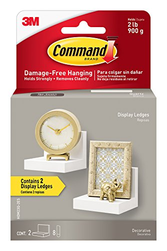 Command Display Ledges, Quartz, 2-Ledges, 8-Medium Foam Strips (HOM23Q-2ES) by Command