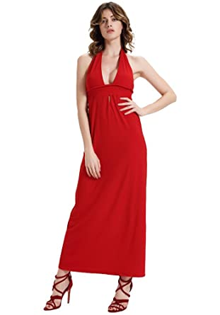 MISSEUROUS Womens Halter Open Back Knitting Long Maxi Bohemian Evening Dress (S, Red)