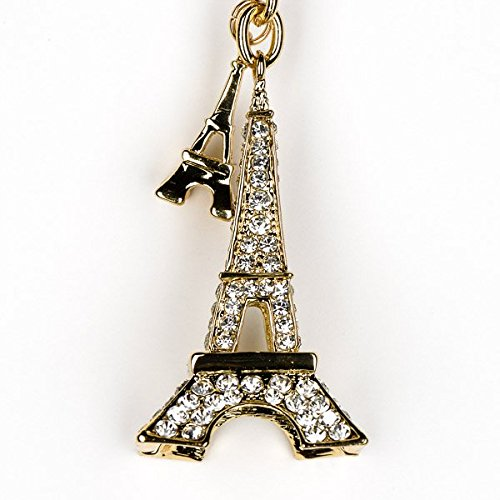 Lilly Rocket France Paris Eiffel Tower Vegas Bling Swarovski Rhinestone Crystal Charm Pendant Purse Bag Key Ring Chain