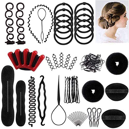 LHAAAYF Hair Styling Set, Fashion Hair Design Styling Tools Accessories DIY Hair Accessories Bun Maker Hair Modelling Tool Kit Hairdress Kit Set Magic Simple Fast Spiral Hair Braid Hair