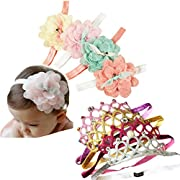 DANMY Baby Girl Super Stretchy Headband Big Lace Petals Flower Baby Hair Band Newborn Hair Accessories (crown and flower(8pcs))